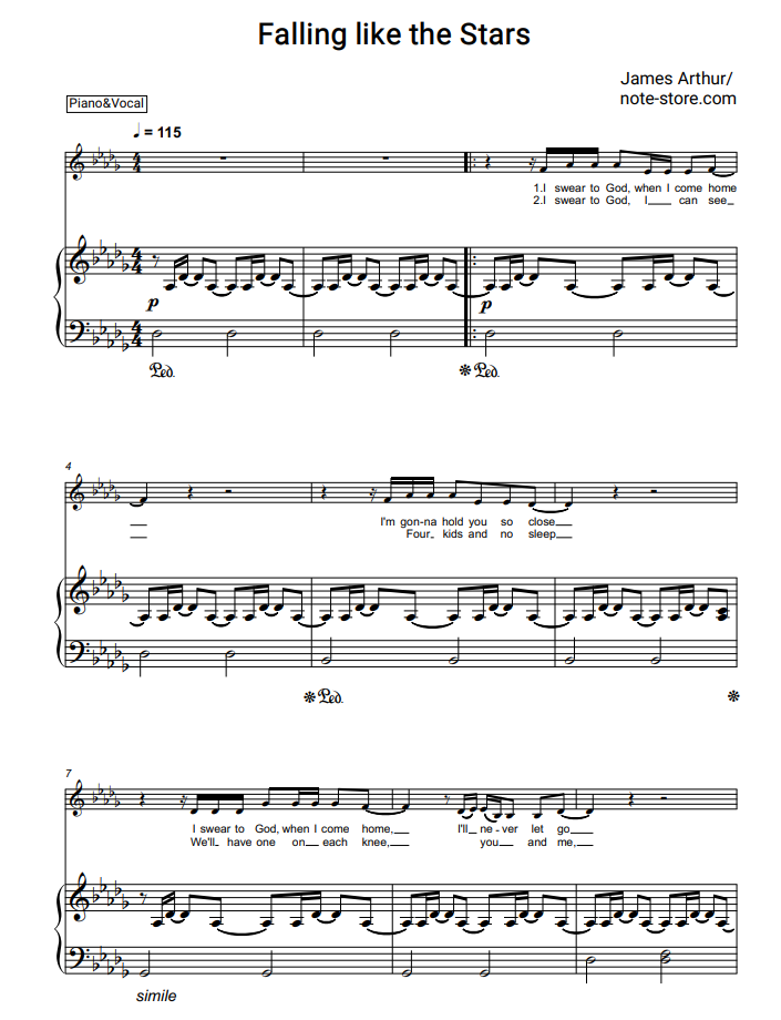 James Arthur Falling Like The Stars Sheet Music For Piano Pdf Piano Vocal Sheet Music James Arthur Printable Sheet Music