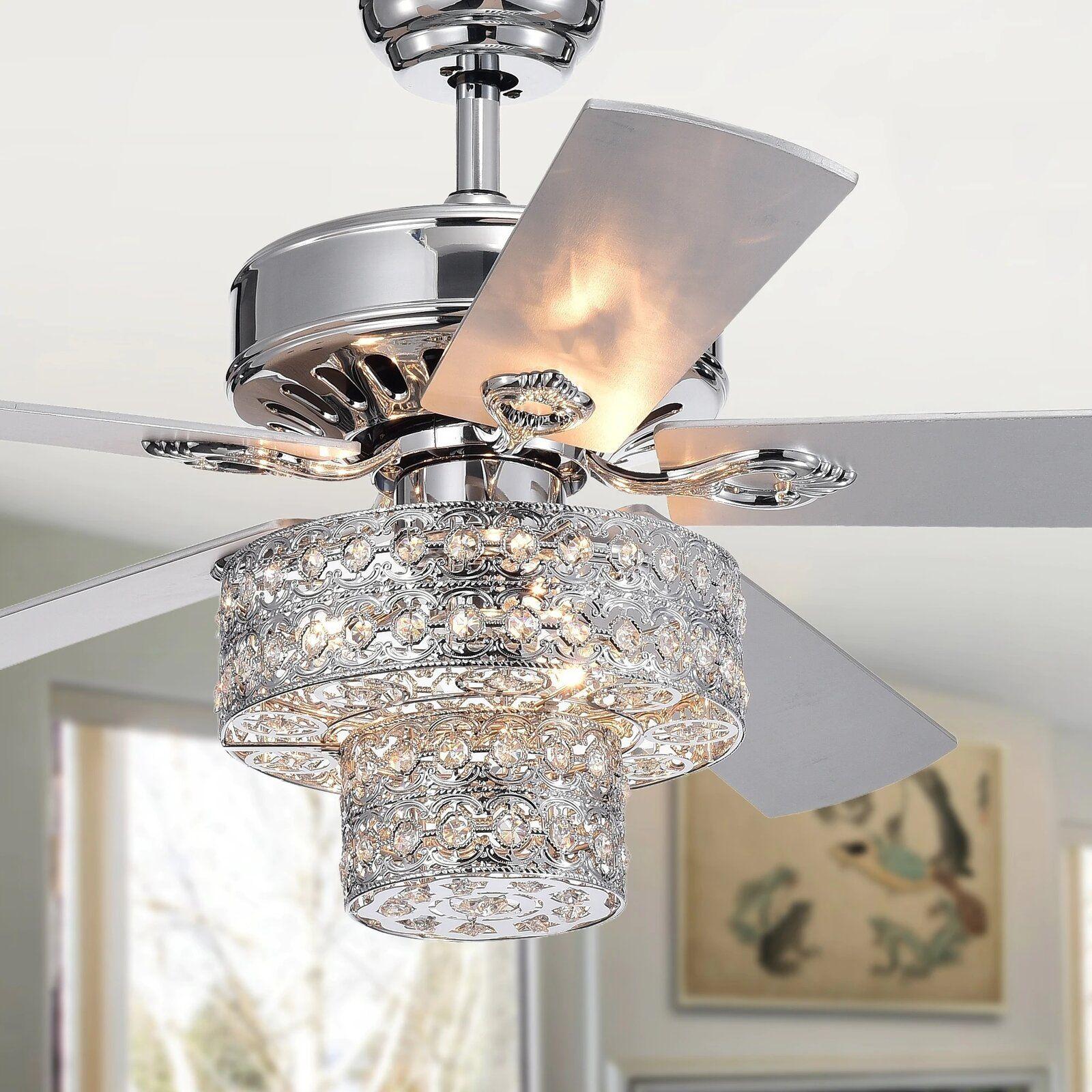52 Parma 5 Blade Crystal Ceiling Fan With Light Kit Included Ceiling Fan Chandelier Ceiling Fan With Light Chandelier Fan