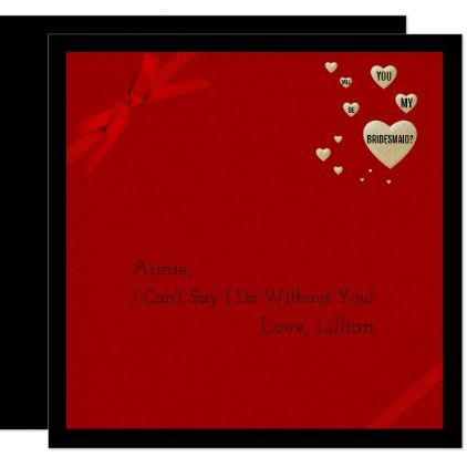 Will You Be My Bridesmaid Elegant Gold Hearts Red Card