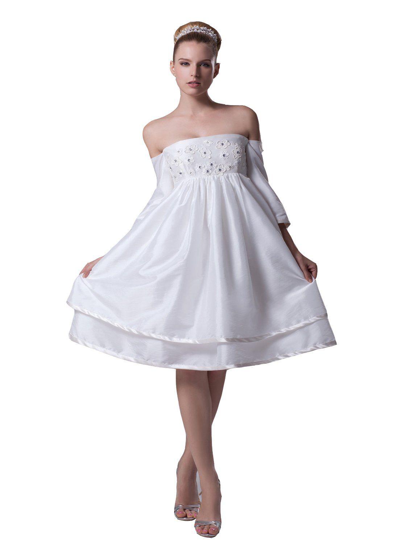 Angel Formal Dresses Womens a Line Off The Shulder Short Wedding