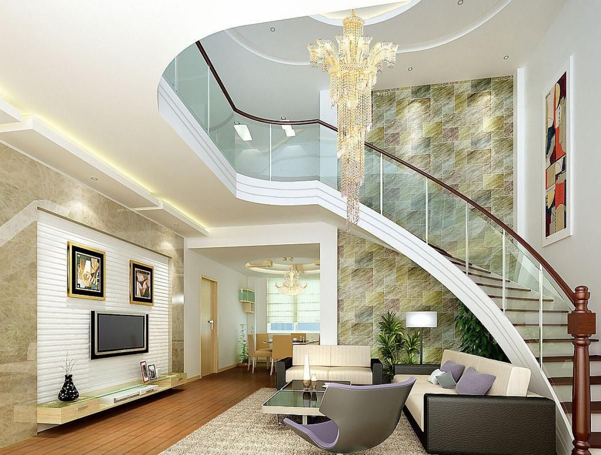 Interior Design Of Living Room With Stairs Staircase Railing