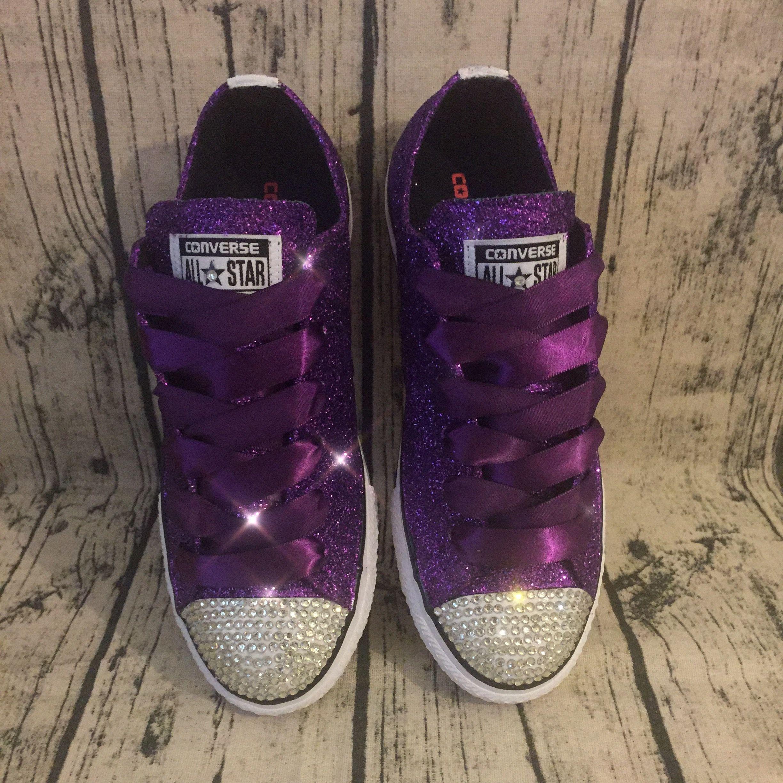 Sparkly Dark Purple Glitter Converse