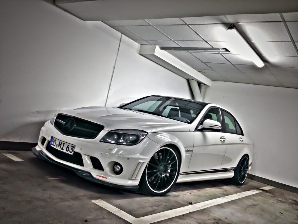 Mercedes Benz W204 C63 Amg White On Black Wheels With Images