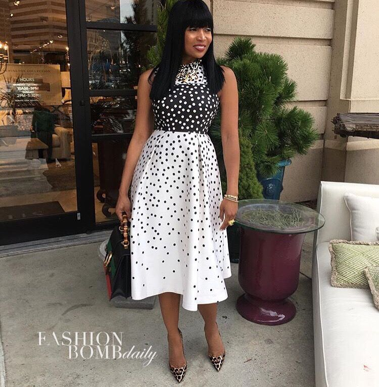 Black and white polka dot dress to wedding
