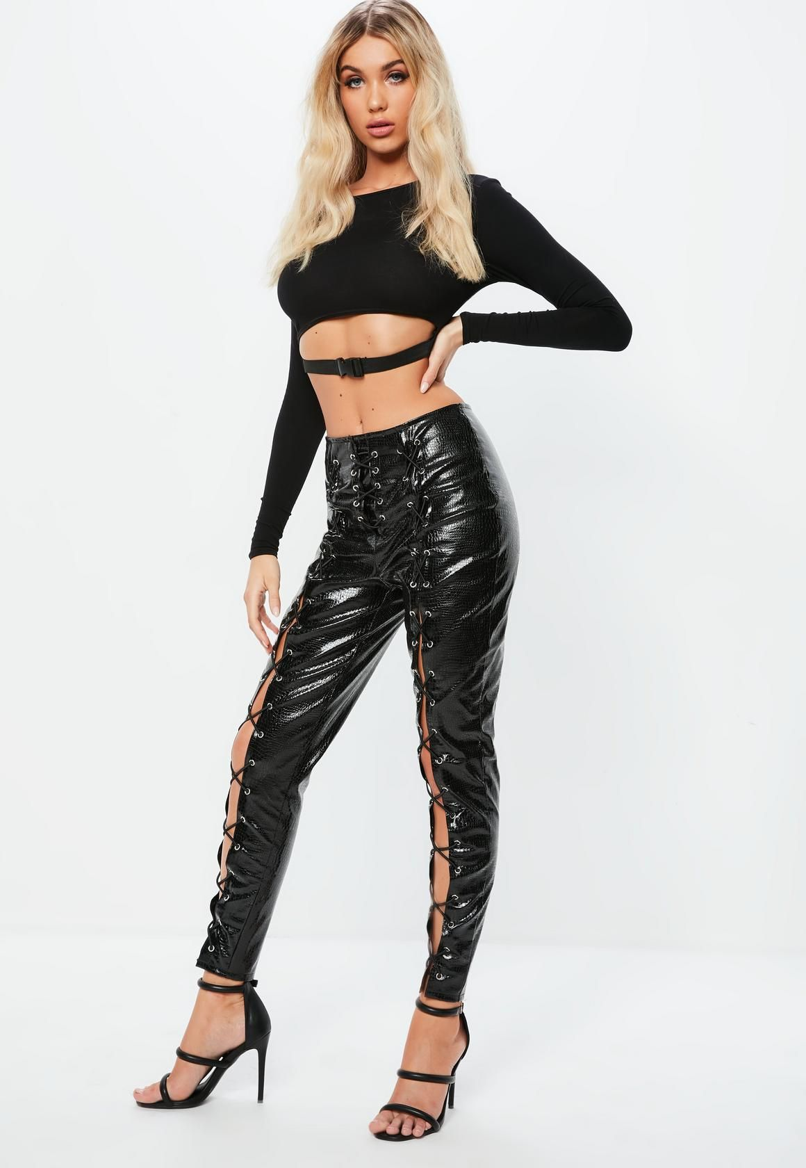 842059711c9f2f Missguided - Fanny Lyckman x Missguided Black High Waisted Lace Up Leggings