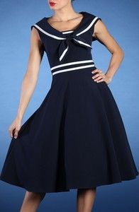 Stop Staring Navy n White Sailor Dress NWT 1940s Vintage ...