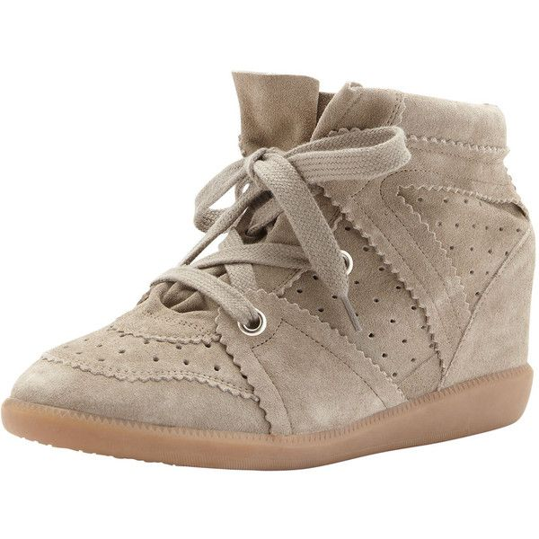 Isabel Marant Bobby Low Rise Perforated Wedge Sneaker Taupe Wedge Sneaker Isabel Marant Bobby Hidden Wedge Sneakers