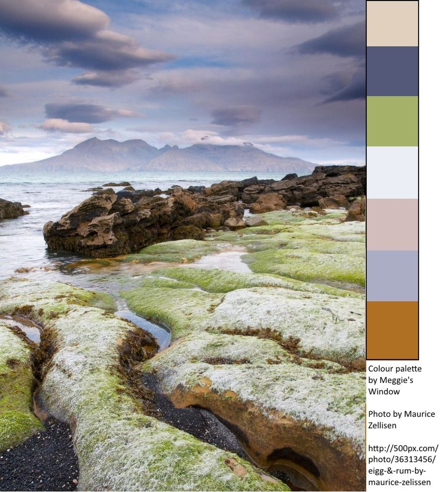 Another colour palette inspired by the beautiful photography of Maurice Zellisen.  Eigg and Rum, Scotland.  --Meggie's Window  http://500px.com/photo/36313456/eigg-&-rum-by-maurice-zelissen