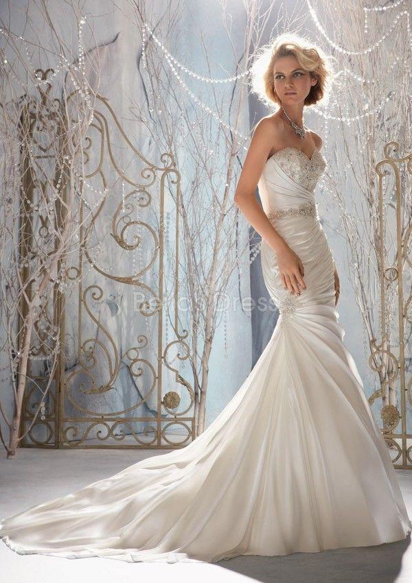 Stylish Fit N Flare Elastic Satin Strapless Asymmetric Waist Floor Length Wedding Dress
