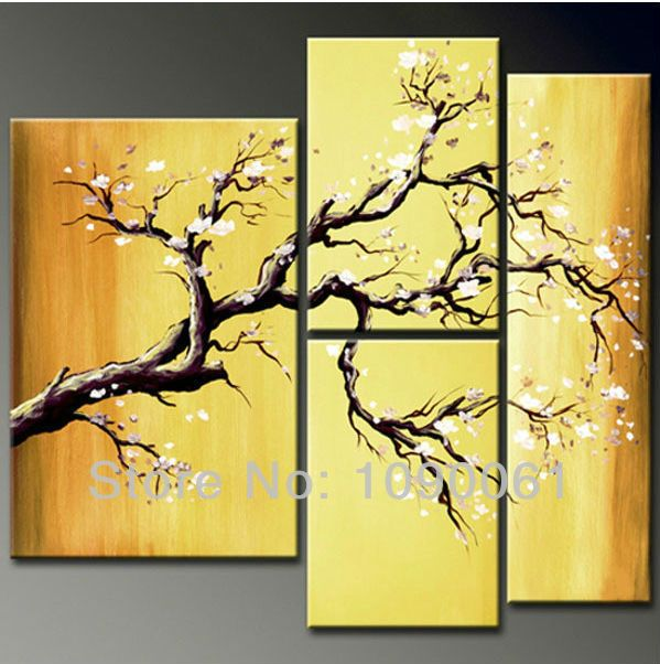 Handpainted White Flowers Canvas Oil Painting Tree Branches Wall Art ...