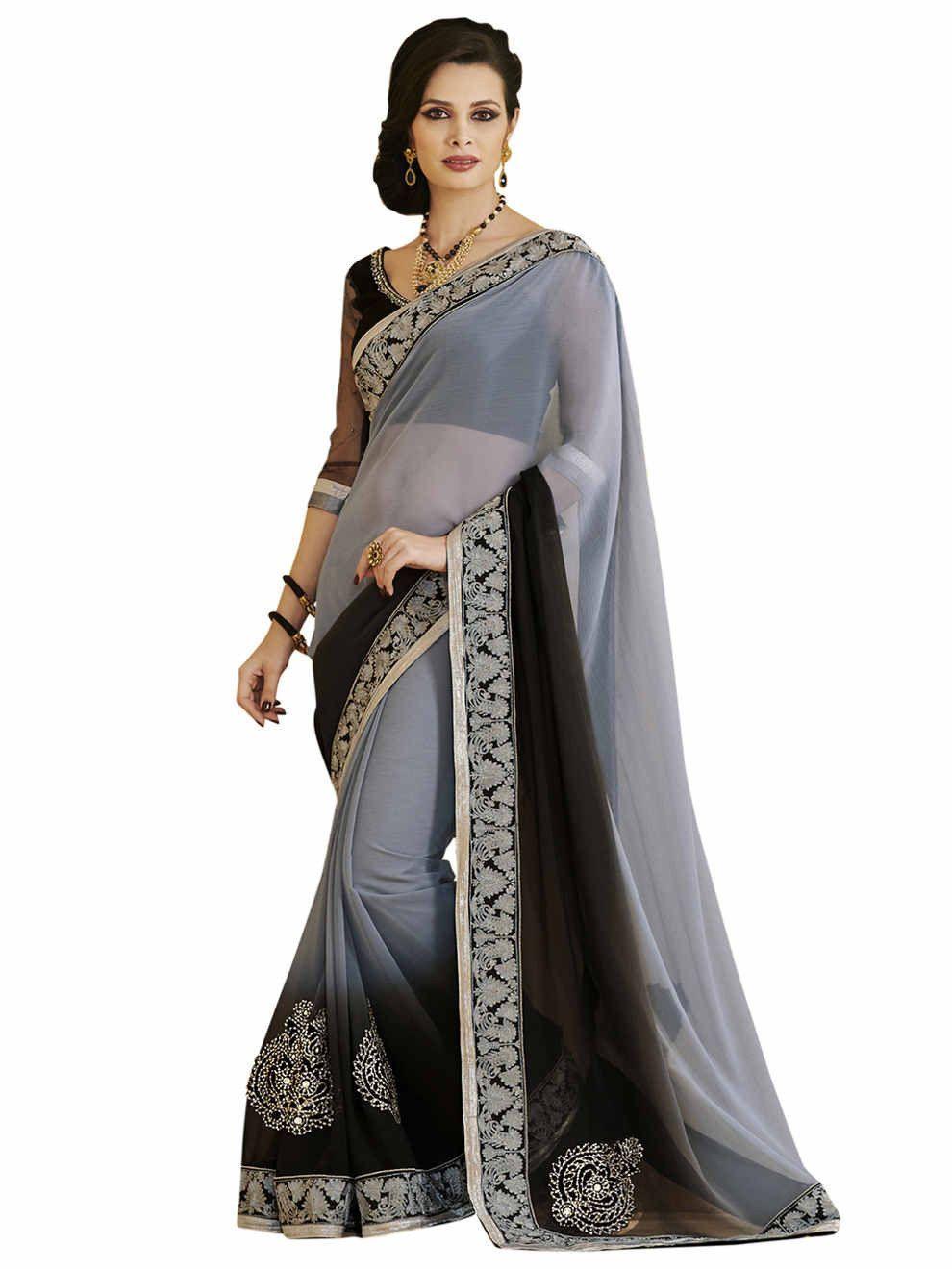 Saree blouse design for chiffon saree melluha heritage grey chiffon designer saree  products  pinterest
