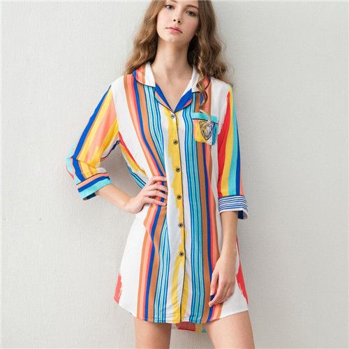 2016 Brand Striped Sleep Lounge Women Cotton Sleepwear Indoor Clothing Long Nightgowns Sexy Home Dress Vintage Nightdress #P94 US $199.90 /piece click the link to buy http://goo.gl/YJxPC6