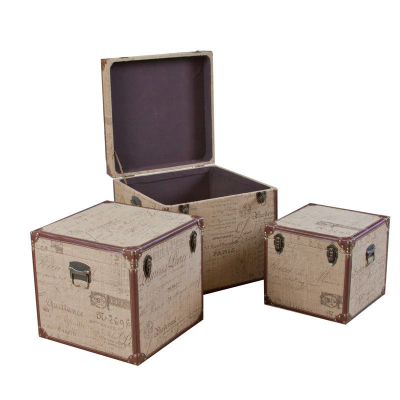Decorative Trunk Boxes Interesting Set Of 3 Stacking Home Decor Storage Trunks Boxes W French Design Decoration