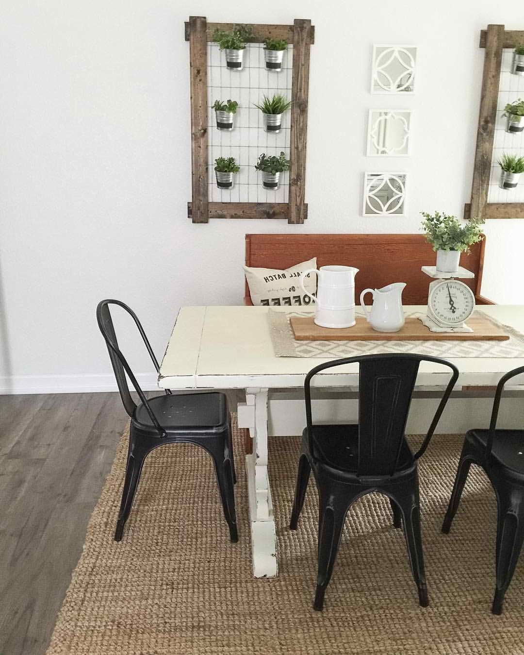 White Farmhouse Table With Black Chairs