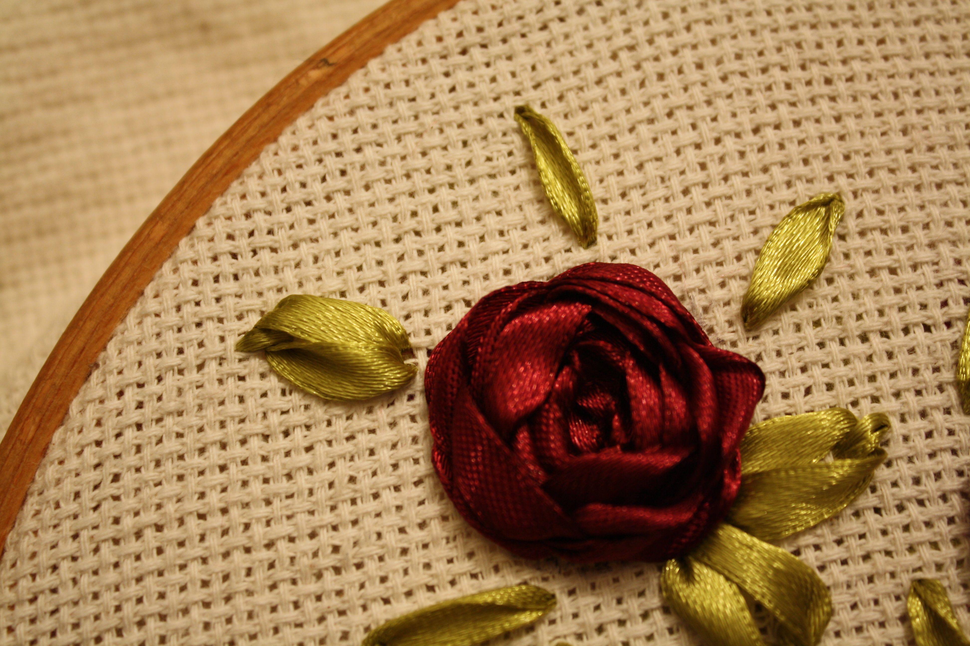 Ribbon Embroidery Leaf Tutorial Tea Party Ideas Pinterest
