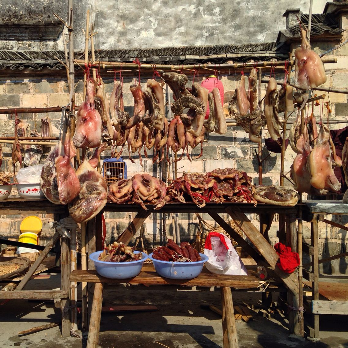 Food Market In An Ancient Chinese Village In Huangshan Huangshan Ancient Chinese Ancient