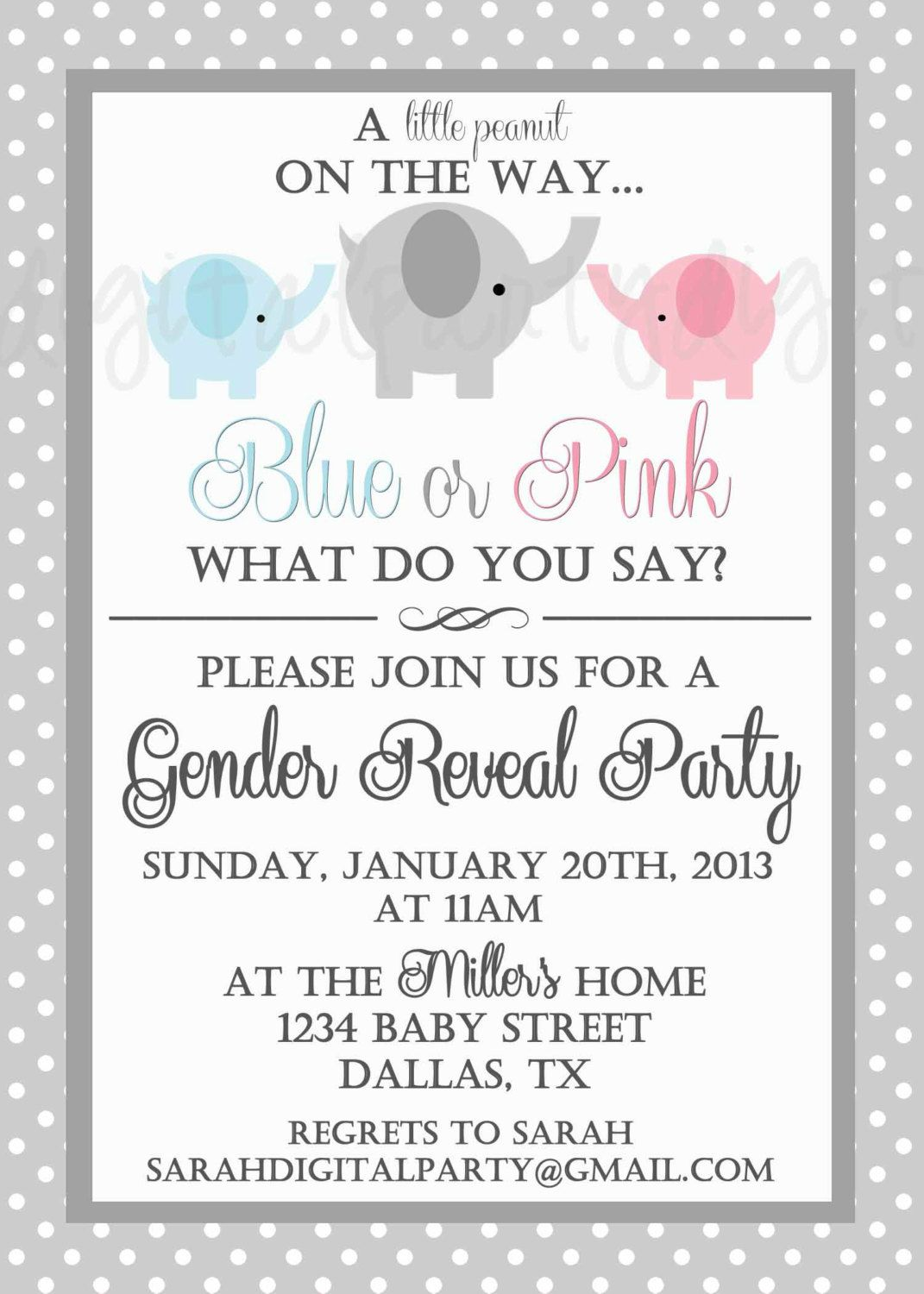 Elephant Gender Reveal Party Invitation 4x6 or 5x7 digital you print your own- Design 137. $8.50, via Etsy.