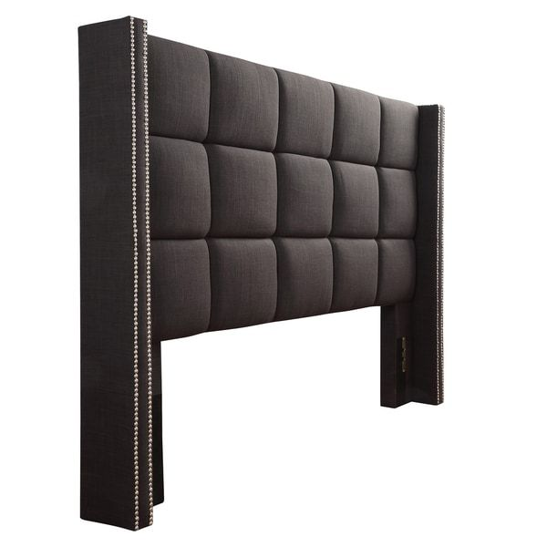 Inspire Q Parker Linen Nailhead Wingback Panel Upholstered Full ...