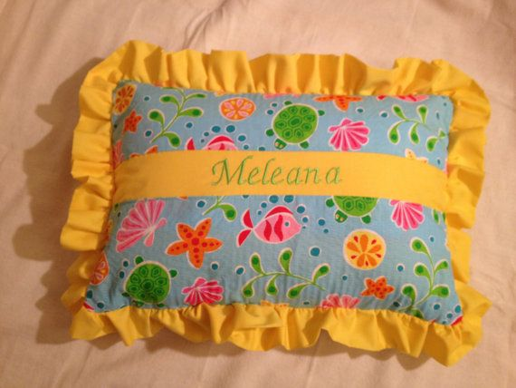 """Childs pillow, custom, handmade, personalized pillow with embroidered first name 12"""" x 16"""" approx CIJ on Etsy, $35.00"""