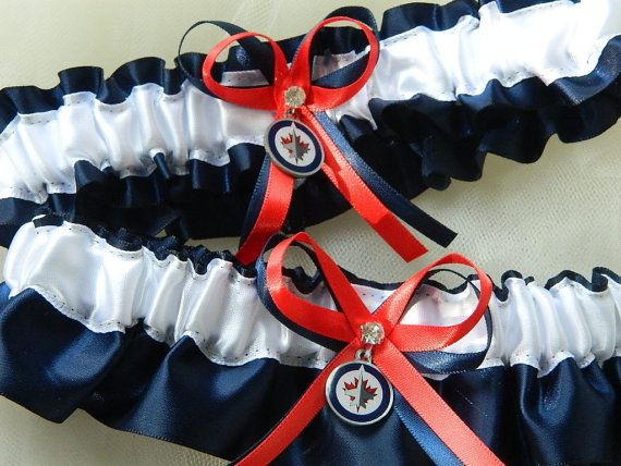 Winnipeg Jets Theme Wedding Garter Sport Garter by PerfectGarter