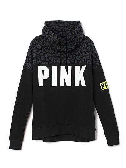 Victorias Secret Pink Bling Gym Crew Sweatshirt Winter White Cheetah