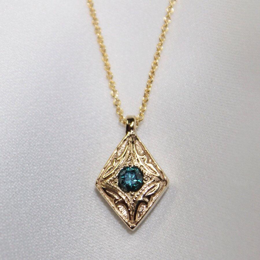 Blue Diamond pendant by SomethingFine on Etsy