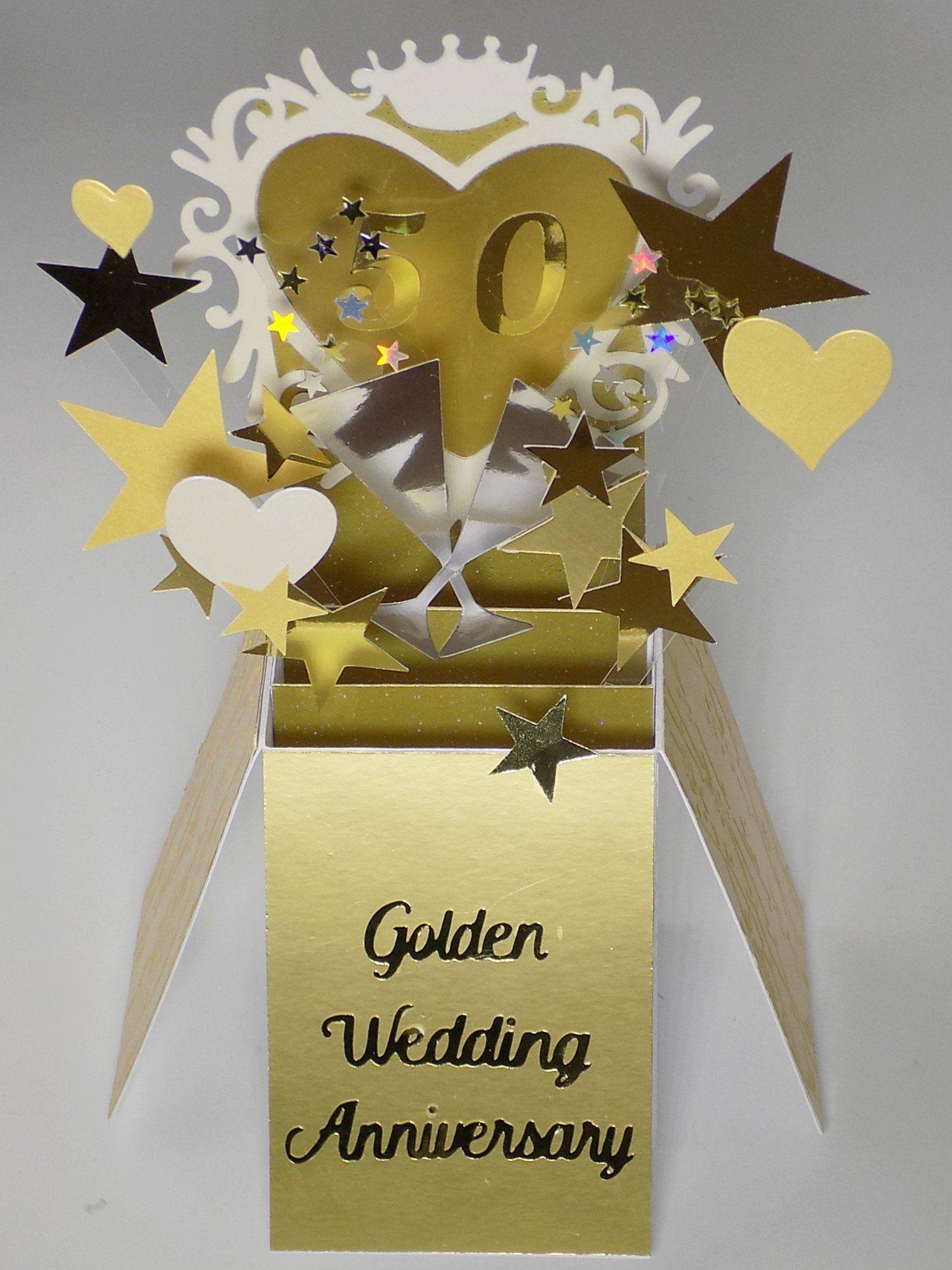 Pop Up Golden Wedding Anniversary 50 Gold Years Handmade Etsy Anniversary Cards Handmade Greeting Cards Handmade 50th Year Wedding Anniversary