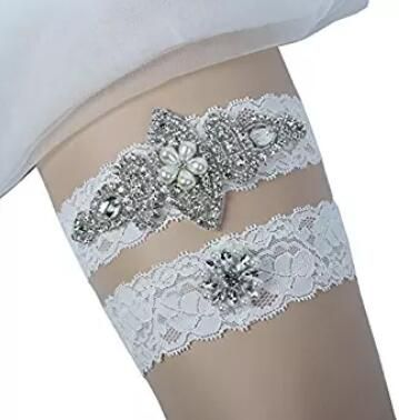 Prettybabyonline Wedding Bridal Garter Set Belt Series Lace Pearls Vintage Prom Gift