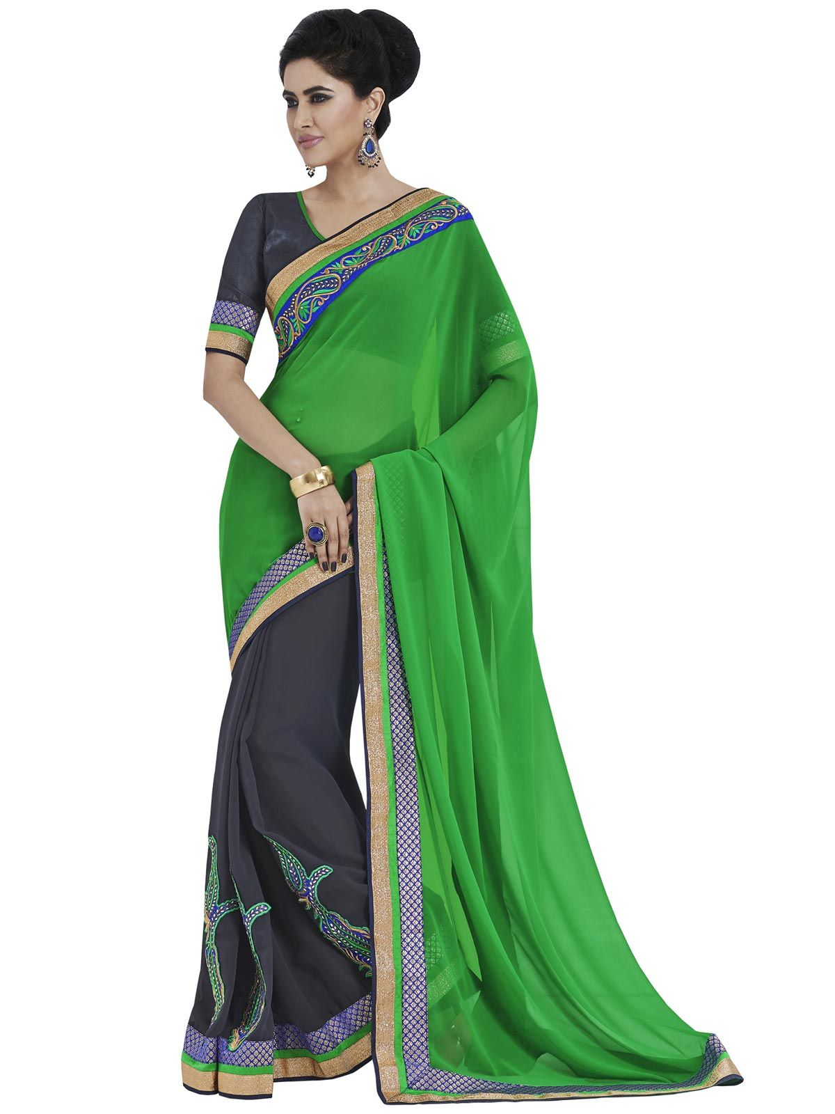 #Stunning Green!!!  #Stunning Green Georgette Saree design with Embroidery.Grey Raw Silk Blouse Comes as an Unstitched Material.  INR 1400.00 Only  Shop@ http://goo.gl/2btunG