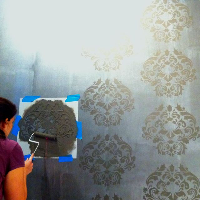 Damask wall stencil -- I want to do this...be a lot cheaper than wallpaper | House Decorating ...