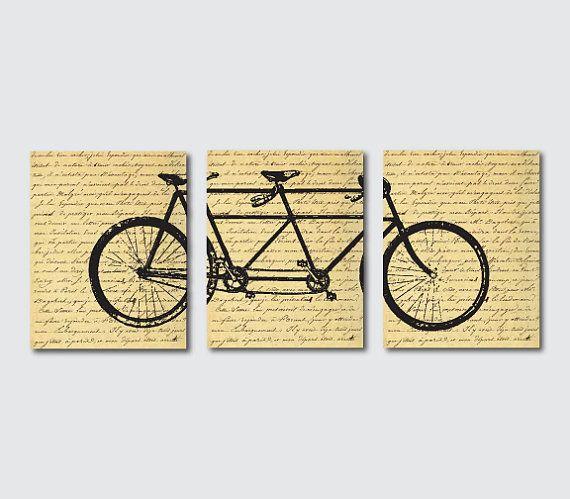 Wall Decor - Tandem Bike Wall Art - Wall Art Trio - Room Decor - Set ...