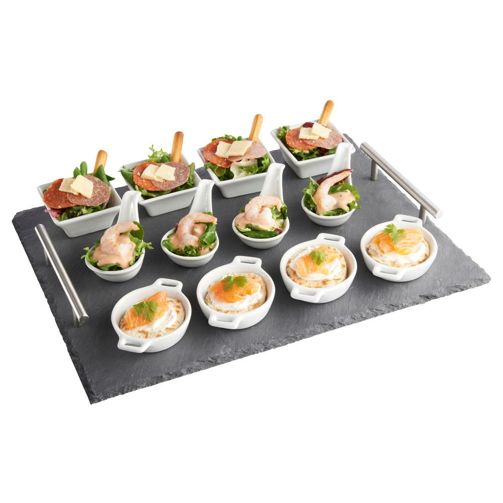 vonshef 13 piece tapas canape slate serving tray with dish set for dining buffet dish sets. Black Bedroom Furniture Sets. Home Design Ideas