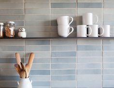 Medium Plenty, Ian Read House, Kitchen with Heath Ceramics Tiles, Blue Gray  Subway