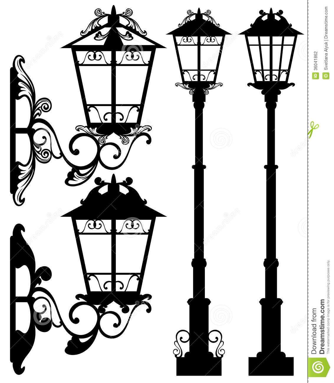 street-light-vector-antique-silhouettes-detailed-black-white ... for Classic Street Lamp  575lpg