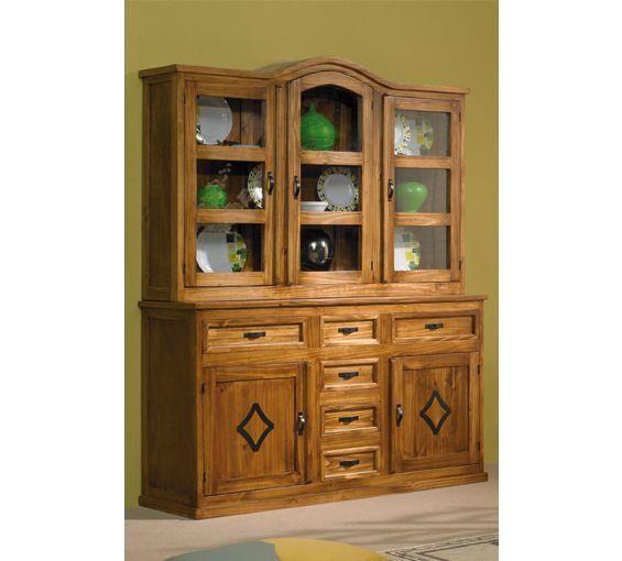 Aparador Y Vitrina Ikea ~ Aparador rústico con vitrina acristalada, puertas y cajones Un mueble de líneas clásicas