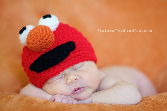 Crochet Elmo Hat, Crochet Baby Hat, Monster Hat, Animal Hat, photo ...