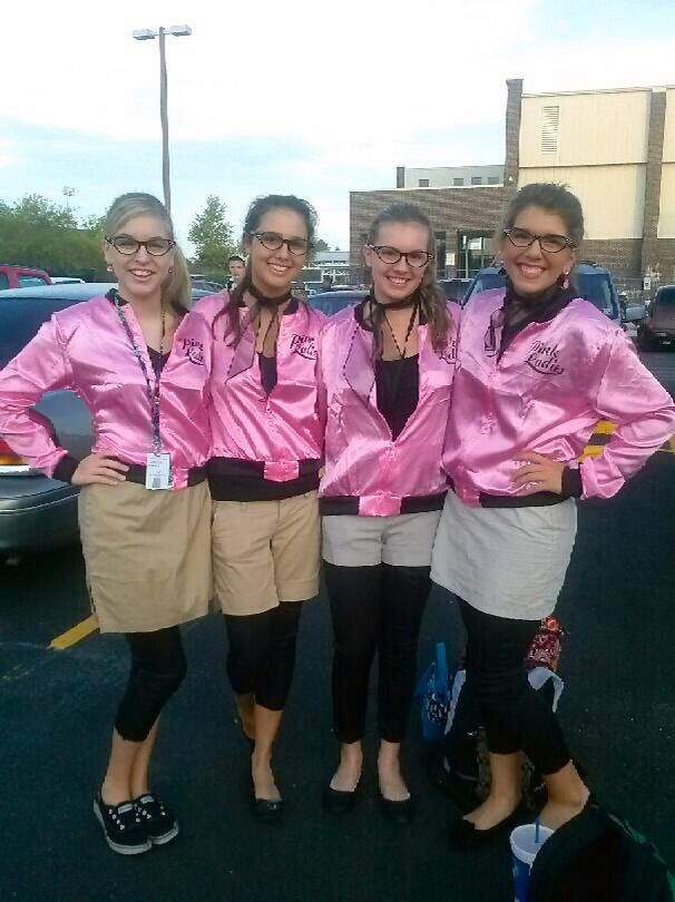 pink ladies for twin day high school twin day homecoming spirit week homecoming spirit. Black Bedroom Furniture Sets. Home Design Ideas
