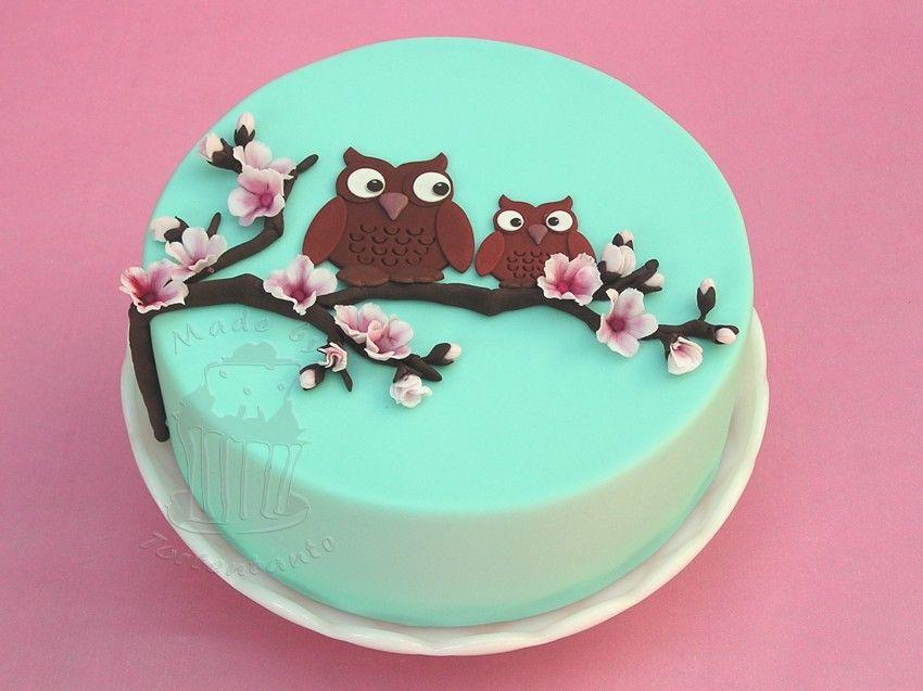 Eulen Im Kirschbaum Fondant Torte Gorgeous Cakes Pinterest