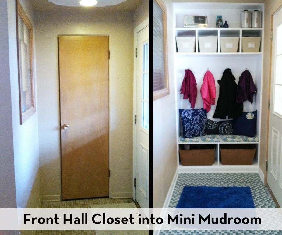 How To Turn A Hall Closet Into A Mini Mudroom