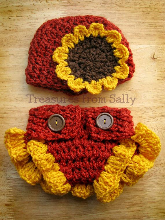 Sunflower Beanie Hat and Ruffle Diaper Cover by TreasuresFromSally ...