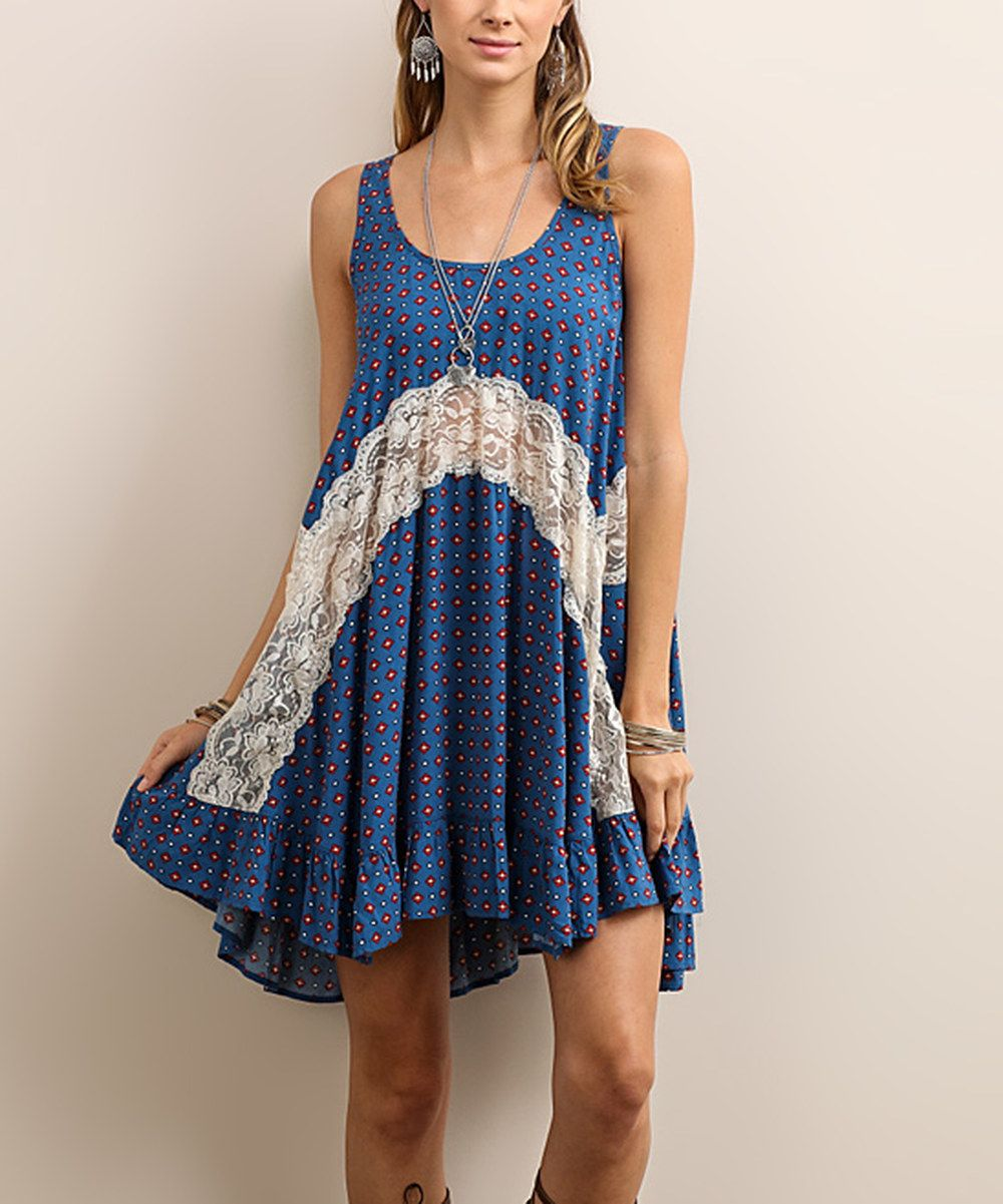 Look at this Soiéblu Blue Lace-Panel Sleeveless Dress on #zulily today!