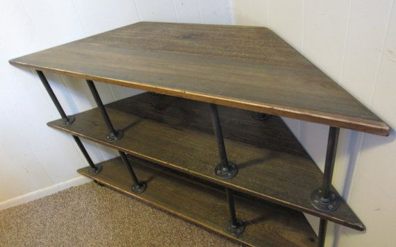 Corner Tv Stand Industrial Iron And Wood For 46 To 52 Tvs En