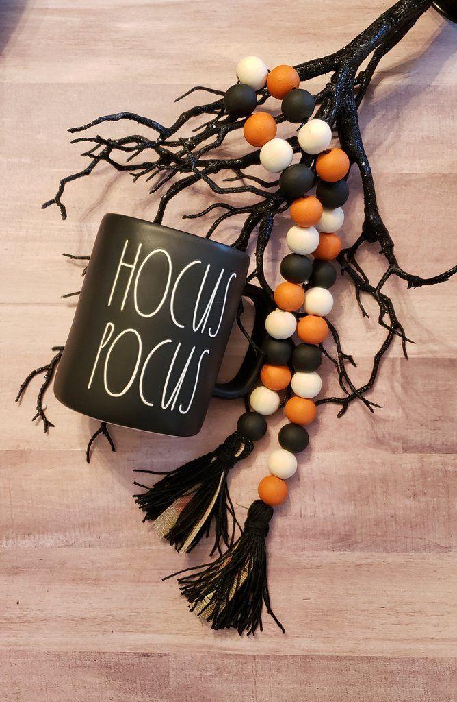 Halloween Pumpkin Garland Halloween beads, Wood bead