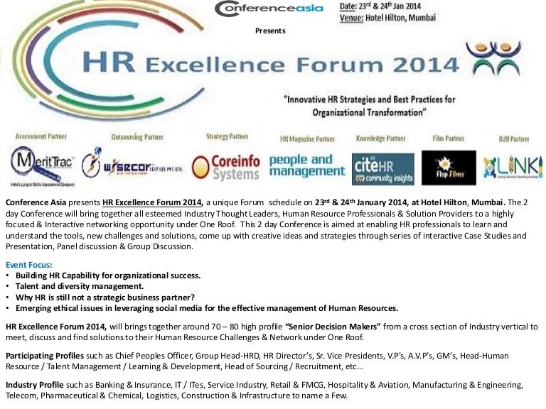 HR Excellence Forum 2014, 23 & 24 January 2014, Mumbai by