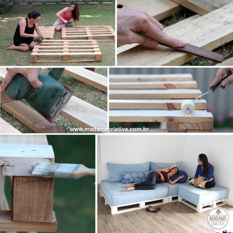 sofas de pallet : sof? de pallets - Dicas e passo a passo com fotos para fazer Sof? de ...