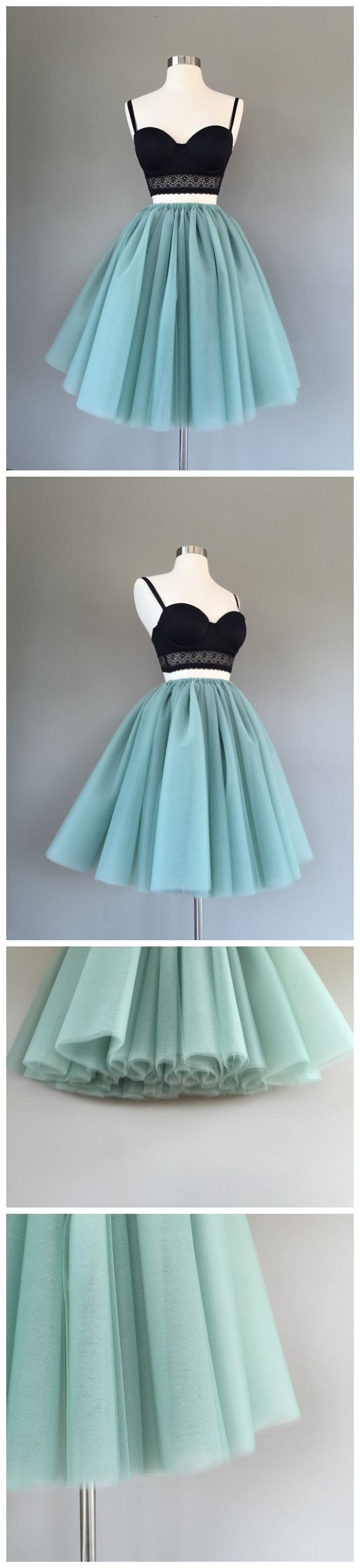 Two pieces aline spaghetti straps short prom dress green homecoming