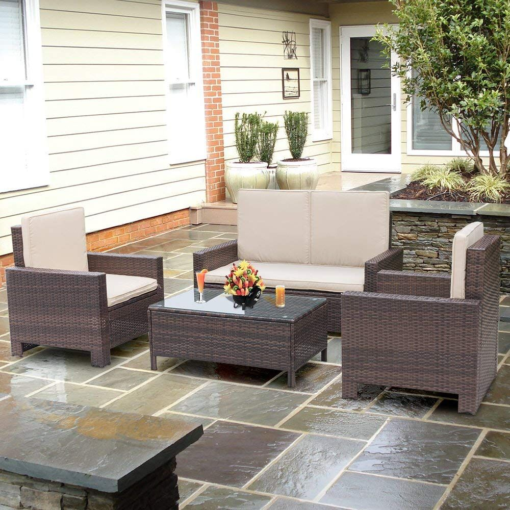 Patio Furniture Sets Clearance 4 PC Wicker