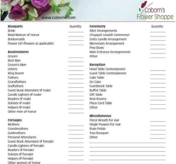 Wedding Ceremony Checklist  Steps For A Better Florist Wedding