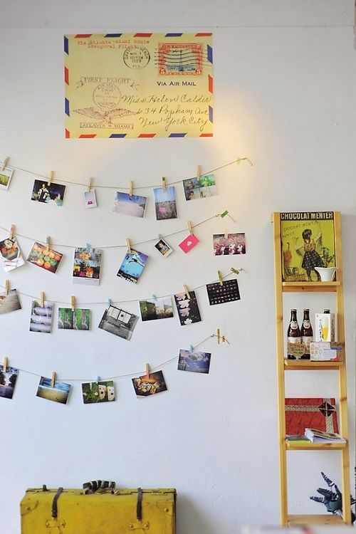 Travel Inspired Guest Room: Vacation Photo Display (Note From Taren: Add A Cut-out Of