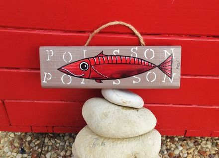 Peinture sur lame de bois taupe du0027un petit poisson à lu0027acrylique